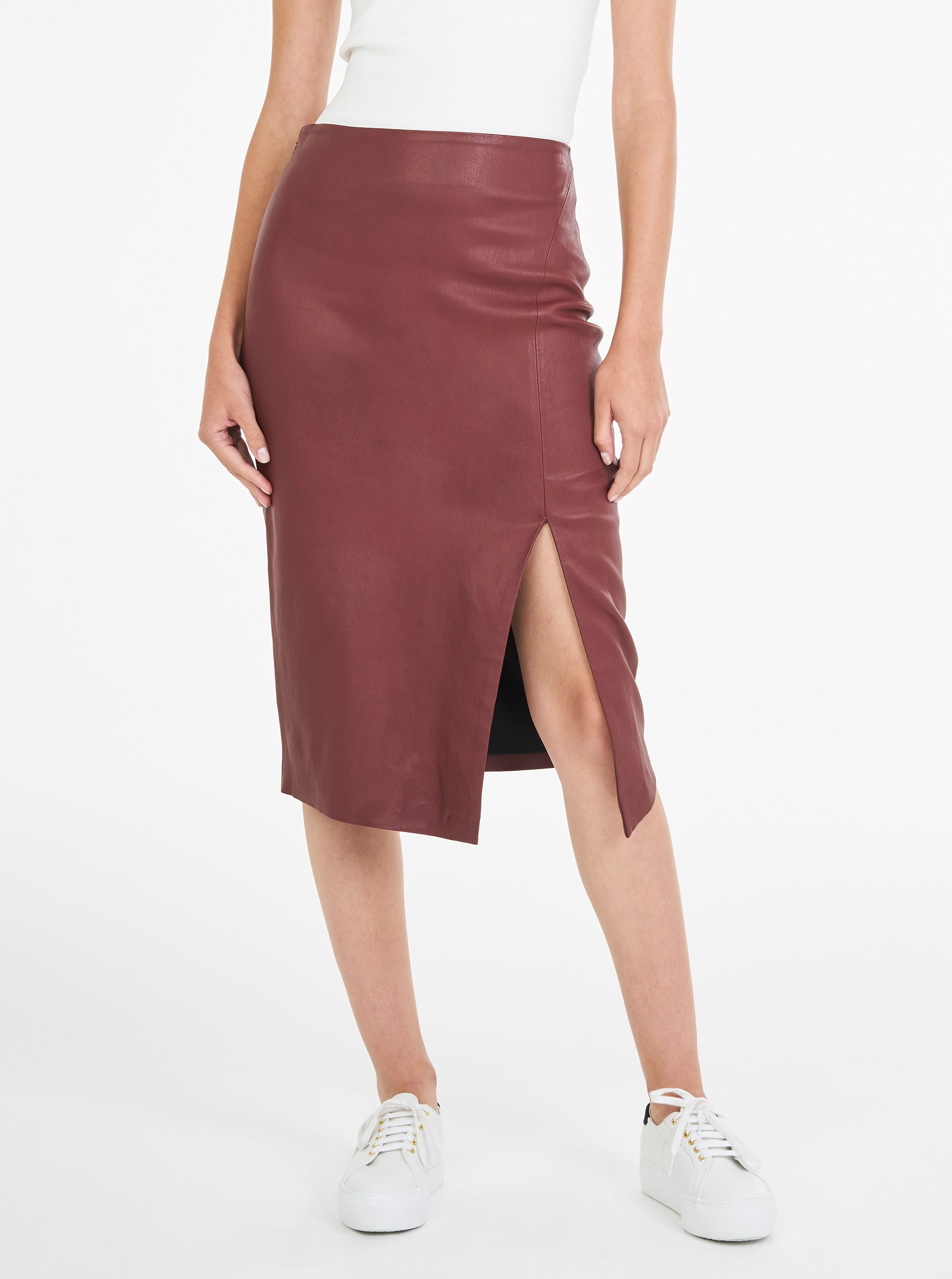 Pure Iconic Stretch Leather Skirt