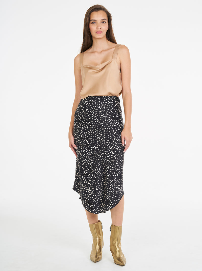 Luxe Silk Animal Print Bias Skirt