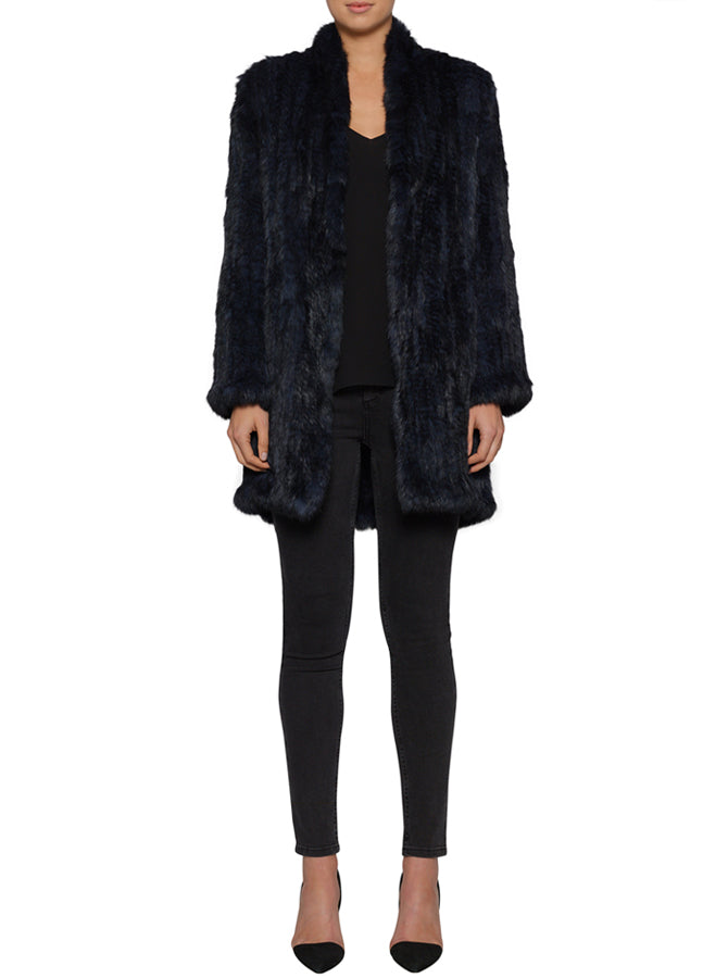 Lush Luxe Fur Coat - Navy