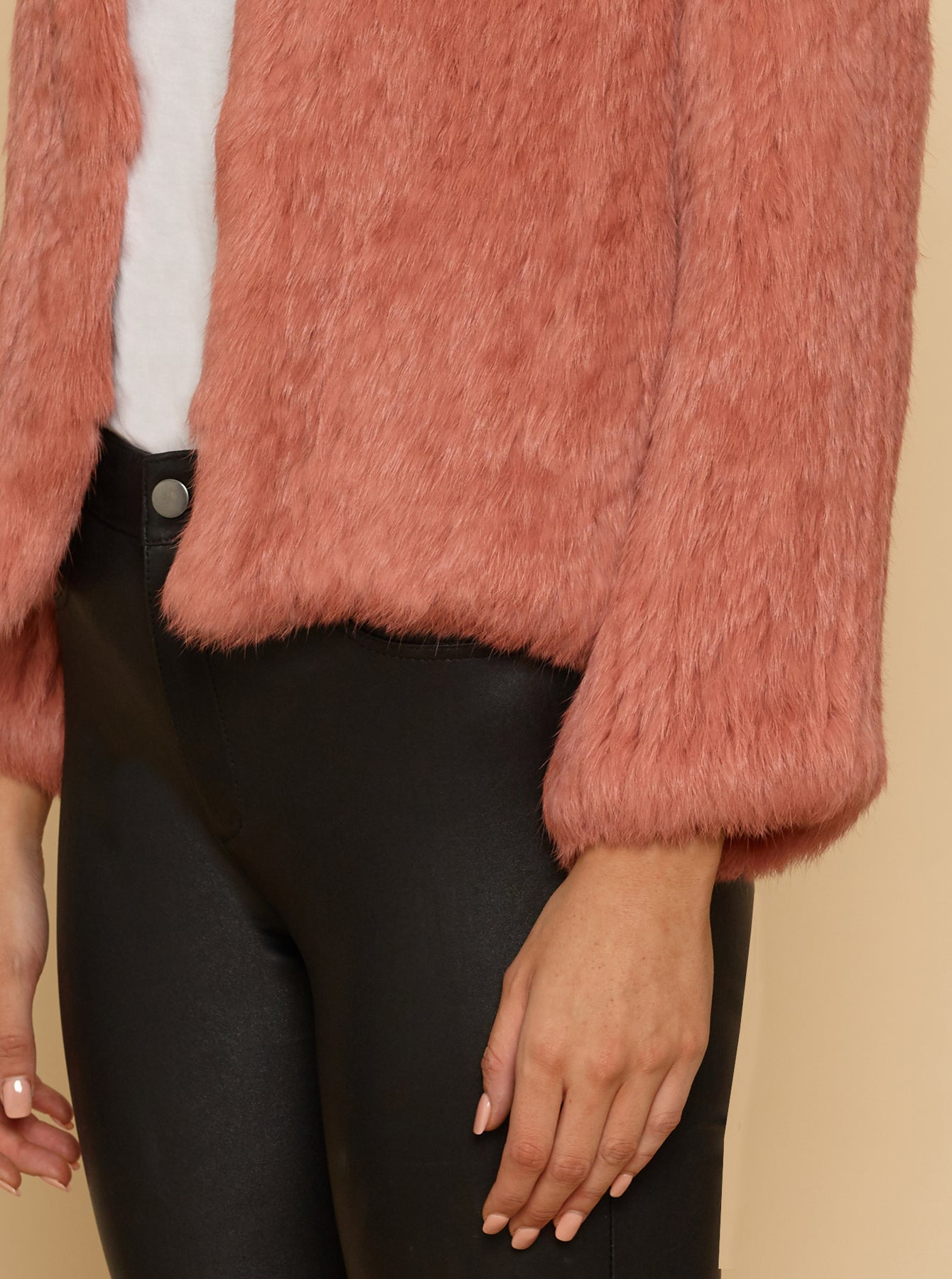 Lush Luxe Fur Jacket - Cameo Rose
