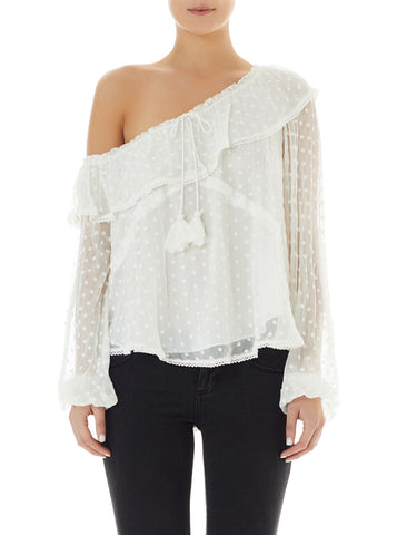 Night Beats One Shoulder Blouse - White / Ivory Embroidery