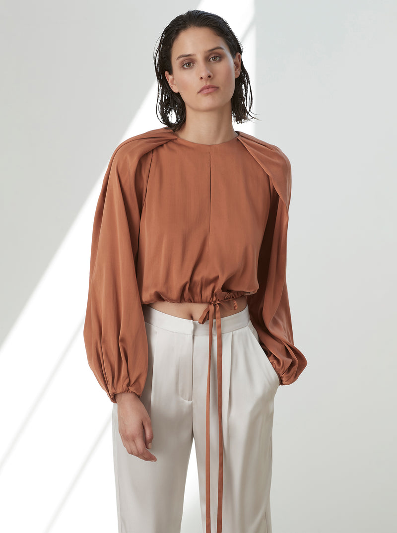 Luxe Silk Drape Back Blouse
