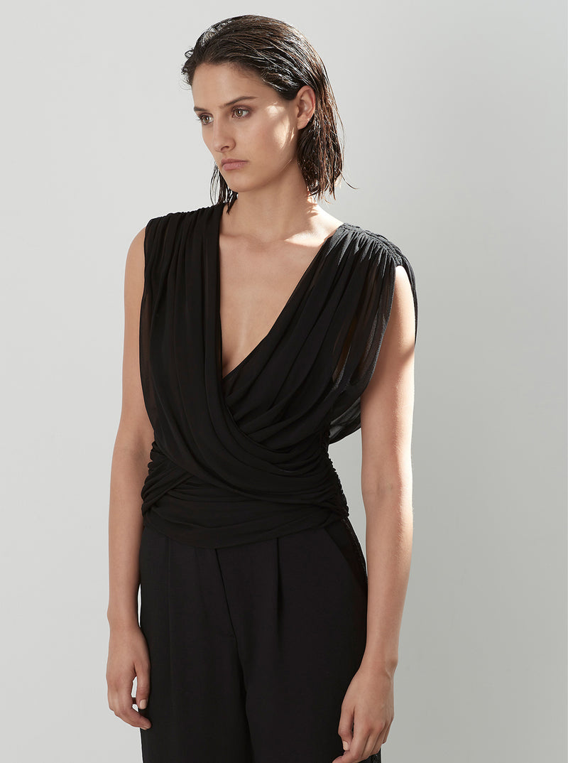 Sheer Fantasy Silk Wrap Top