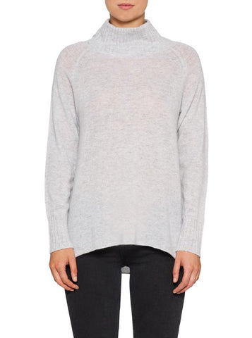 Superluxe Mock Neck Sweater-Grey Marle