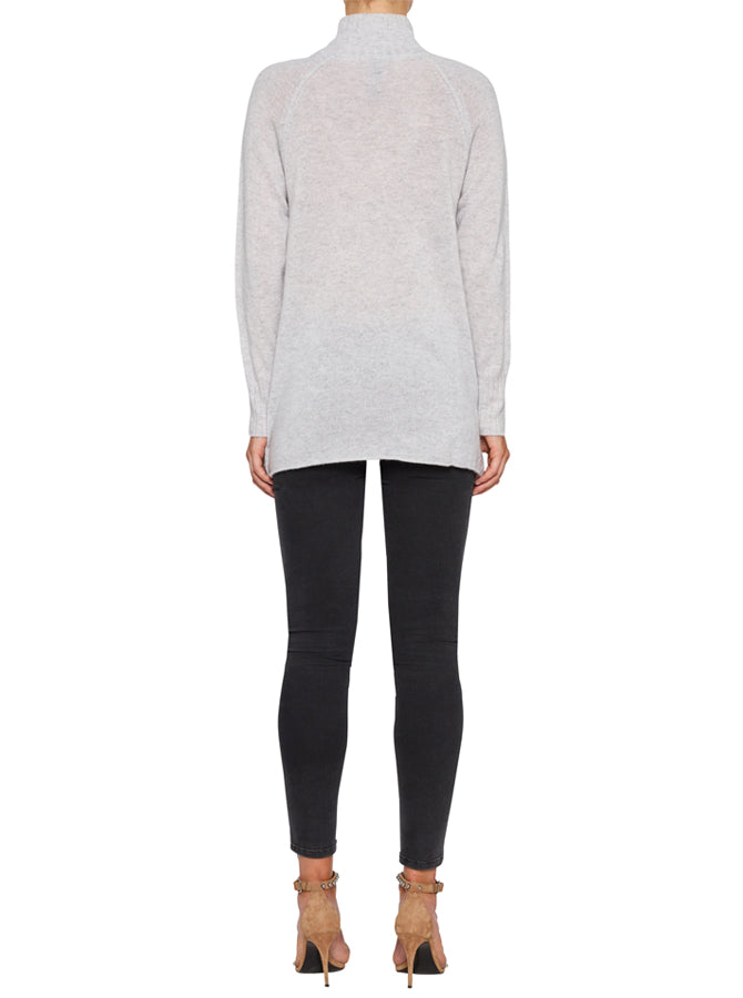 Superluxe Mock Neck Sweater - Grey Marle