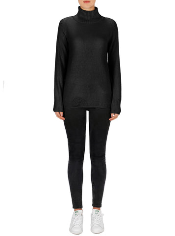 Superluxe Mock Neck Sweater - Black
