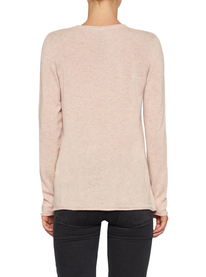 Superluxe Self Roll Crew Neck-Soft Rose