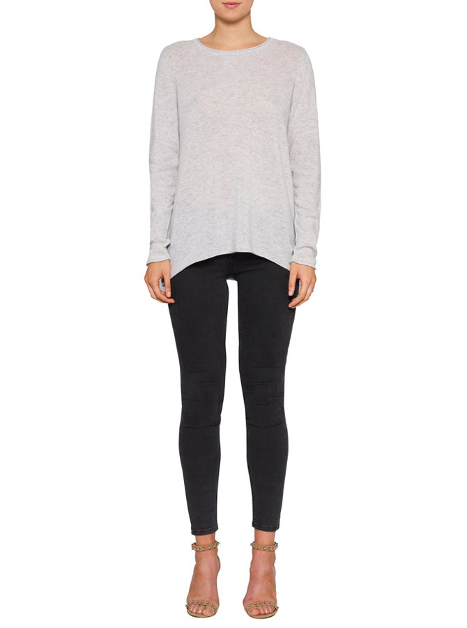 Superluxe Self Roll Crew Neck-Grey Marle