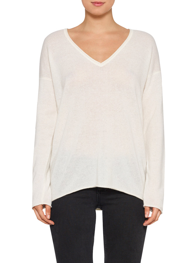 Superluxe Self Roll V-Neck-Ivory