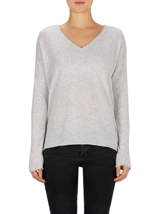 Superluxe Self Roll V-Neck - Grey Marle