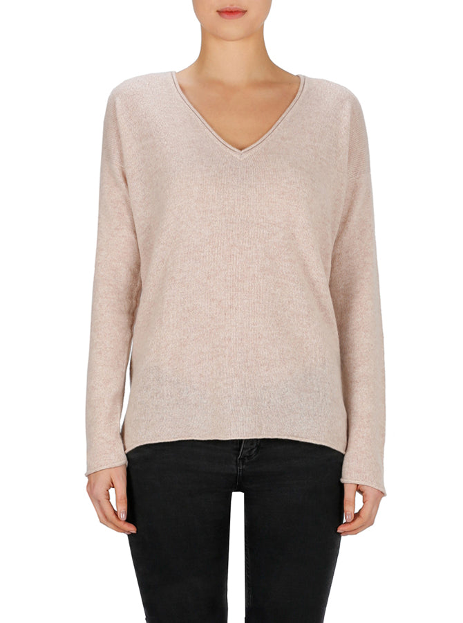 Superluxe Self Roll V-Neck - Soft Rose