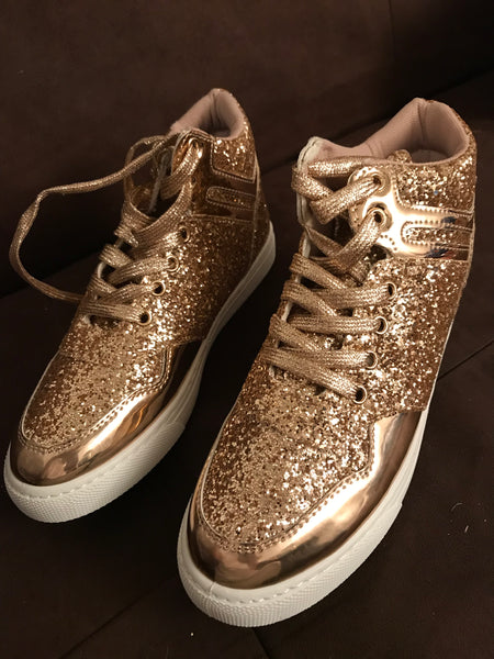Gold Sparkle High Tops