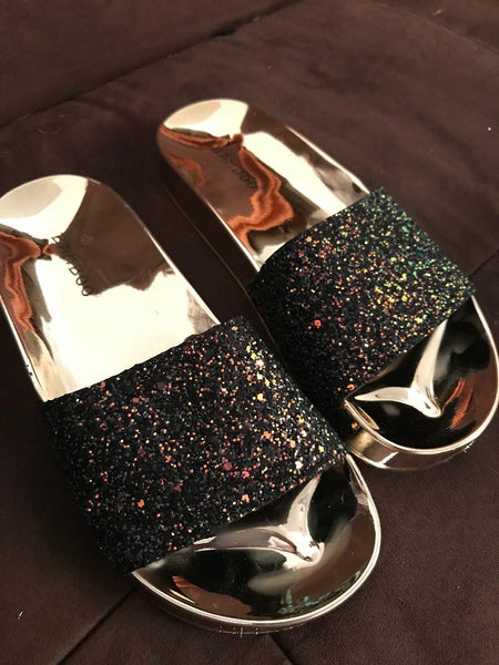 Hologram Black Glitter Slip-on Sandals