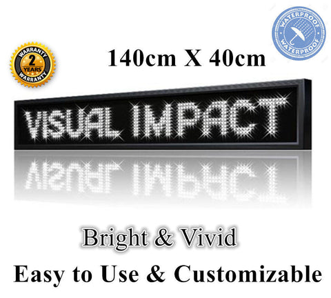 OUTDOOR WHITE Colour Programmable  Message Sign 140 x 40 cm