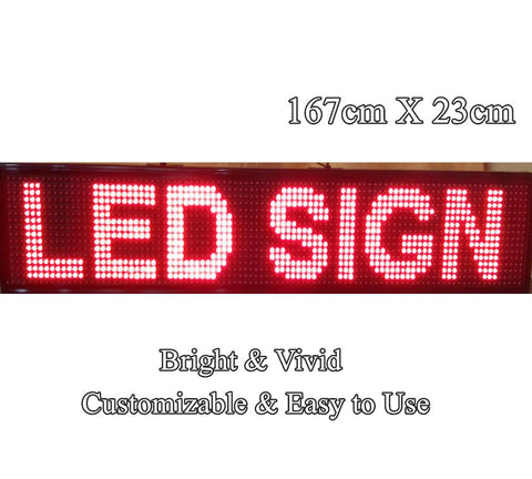 Indoor Red Colour Programmable LED Sign 167x 23cm