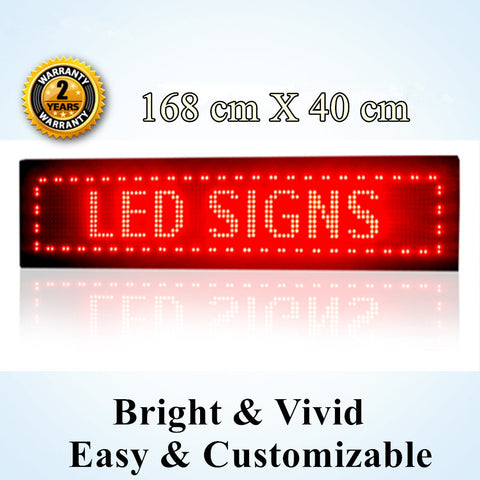 OUTDOOR RED Colour Programmable LED Message Sign 168 x 40 cm