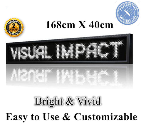 OUTDOOR WHITE Colour Programmable  LED Sign 168 x 40 cm