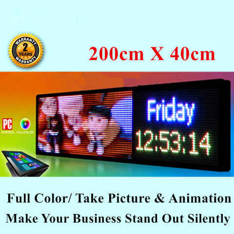 Indoor 7 Colour Programmable  LED Message Sign 200 X 40cm