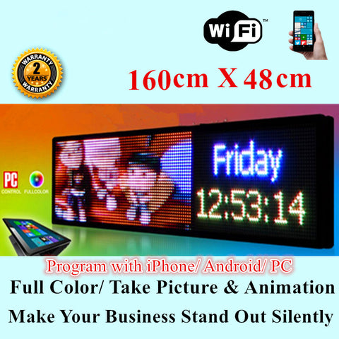 Outdoor Full Colour Programmable  LED Message Sign 160 x 48cm