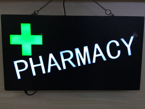 """PHARMACY"" GREEN CROSS Bright Neon LED Sign"