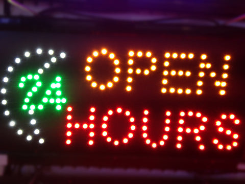 """OPEN 24 HOURS"" LED Sign"