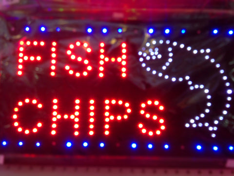 """FISH CHIPS' LED Sign"