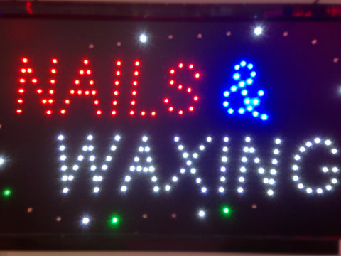 """NAILS & WAXING"" LED Sign"
