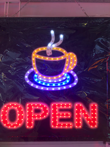 48 cm X 48 cm Open Sign with Cup