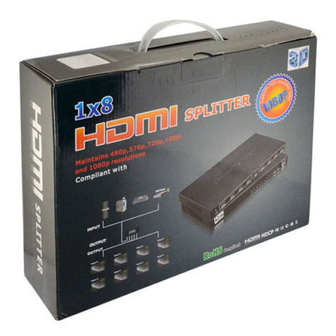 HDMI 1x8 8-Port 3D Splitter Amplifier with 1080P HDCP