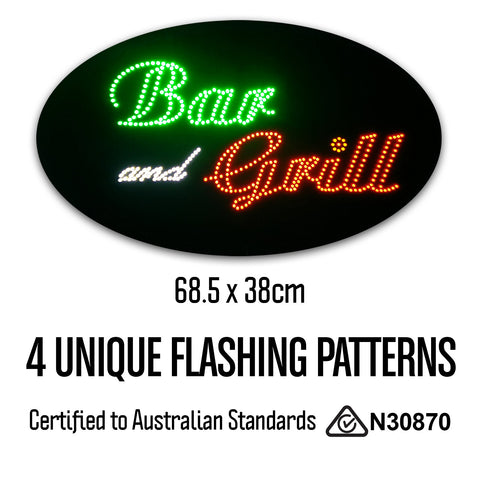 Round Epoxy Resin Bar and Grill LED Sign