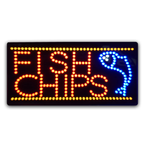 Epoxy Resin LED FISH & CHIPS Sign
