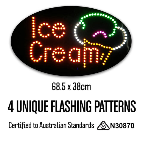 Round Epoxy Resin Ice Cream LED Sign