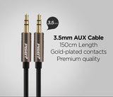 1.5m PISEN Black 3.5mm Stereo AUX Cable