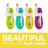 800mm PISEN Colourful Flat Micro USB Data & Charging Cable