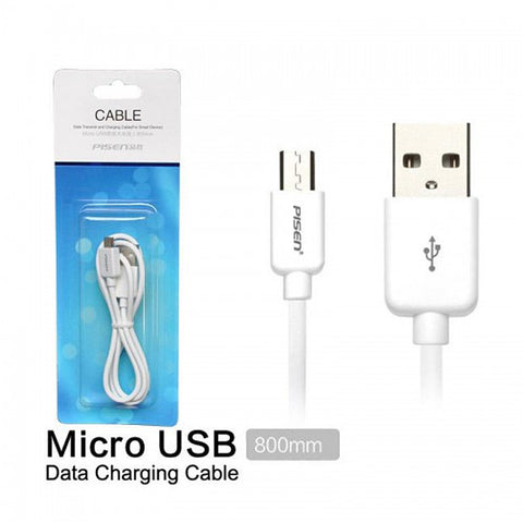 Pisen High Quality Micro USB Data and Charging Cable 80cm - White