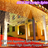 6mX3m 600 LEDS Curtain Fairy Lights Warm White
