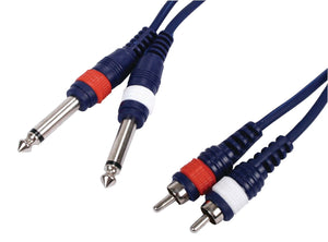 "1.5 Metre RCA x2 to 6.35mm 1/4"" x2 Audio Cable"