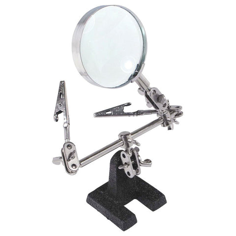 Soldering Stand w 5X Magnifying Glass 2 Alligator Clips Arms