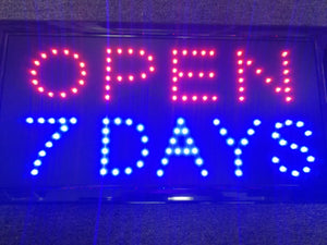"""OPEN 7 DAYS"" LED Sign (48cm*25cm)"