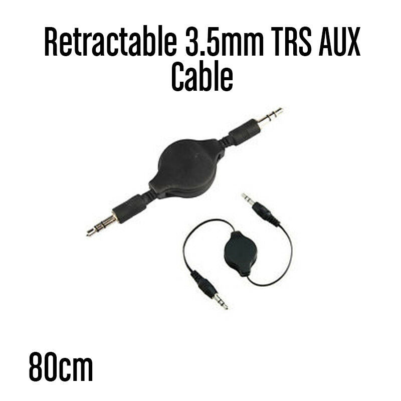 "80cm Retractable AUX Cable 3.5mm 1/8"" TRS 3-Pole Stereo Flat Cable"