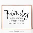 Family • A Whole Lot Of Love • Entryway Wall Art Decor • Free Printable • Black and White - Printjoy