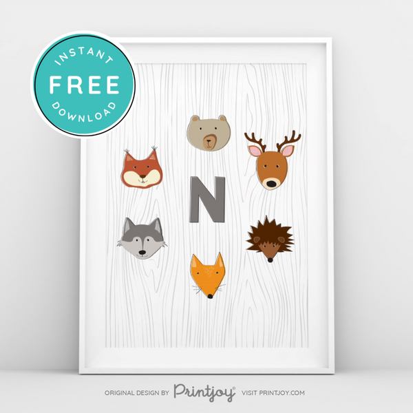 Woodland Monogram • Baby Boy Nursery • Wall Art Decor • Free Printable - Printjoy