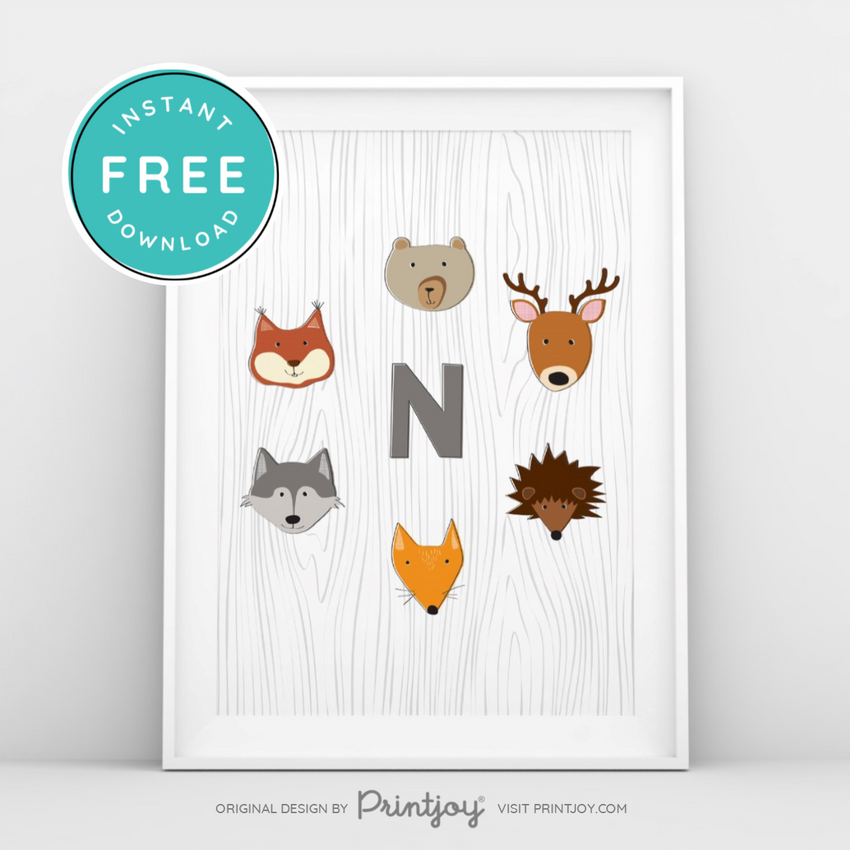 Woodland Monogram Baby Boy Nursery Wall Art Decor Free Printable