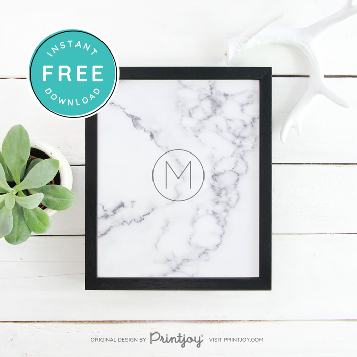 White Marble Monogram Wall Art Decor, Free Printable