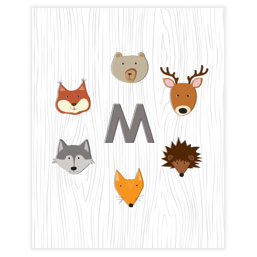 Free Printable Woodland Monogram Baby Boy Nursery Wall Art Decor - Printjoy