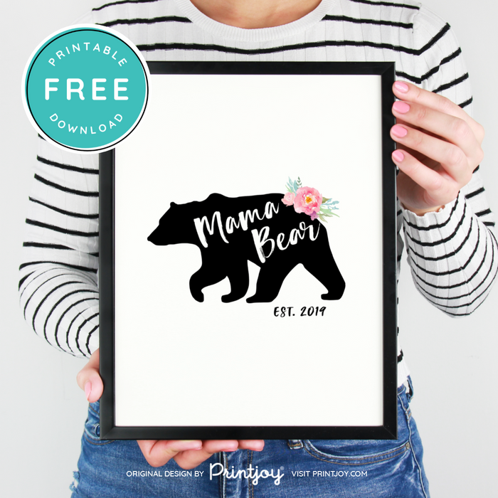 Mama Bear Est Year Wall Art Decor, Free Printable, White and Black