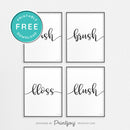 Wash Brush Floss Flush • Set Of 4 • Modern Decor • Wall Art • Free Printable Download - Printjoy