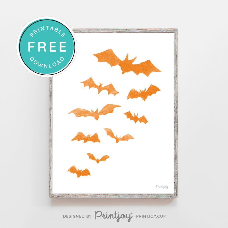 Free Bats Printable Wall Art • Halloween Decor • Free Download - Printjoy