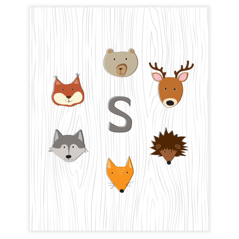 Woodland Monogram Baby Boy Nursery Wall Art Decor Free Printable - Printjoy