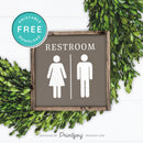 Restroom Sign • Mens Womens Bathroom • Popular Bathroom Decor • Modern Farmhouse • Denim Blue • Wall Art • Free Printable Download - Printjoy